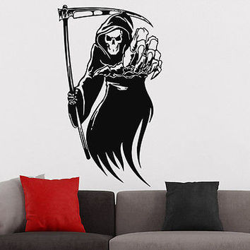 Wall Decal Happy Halloween Vinyl Sticker Decals Grim Reaper Holiday Witch C186