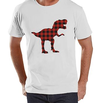 Men's Dinosaur Shirt - Buffalo Plaid Dino White Tshirt - Funny Mens Shirts - Plaid Dinosaur Shirt - Dinosaur Gift Idea for Him - Dino Lover