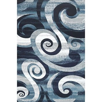 2018 Navy Blue Abstract Contemporary Area Rugs