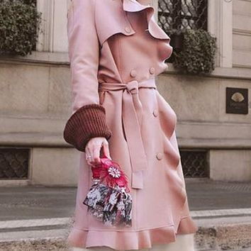 New Pink Pockets Sashes Ruffle Double Breasted Ruffle Collar Fashion Elegant Vintage Long Trench Coat