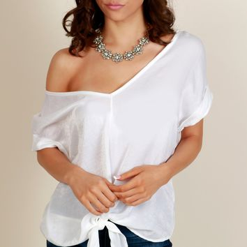Knot Your Girl Satin Knot Top White