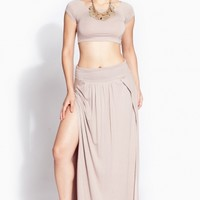 Taupe Double Slit Maxi Skirt