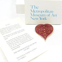 MMA Red Heart Cloisonne Brooch or Pendant Red Gold Enamel Design Metropolitan Museum of Art RARE Original Box Vintage Costume Jewelry Design