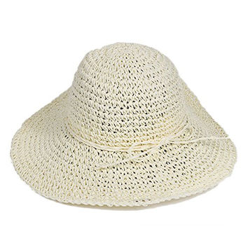 Wowlife Retro Women Ladies Bohemia Straw Brim Roll-up Crocheted Hats Sun Cap