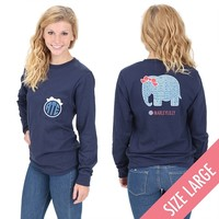 Monogrammed Seersucker Elephant Long Sleeve T-Shirt