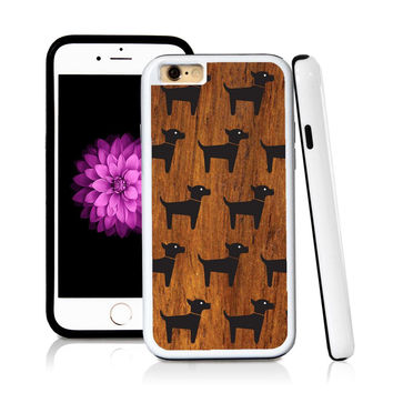 iPhone 6 case Dog standing in Wood Texture with hard plastic & rubber protective cover