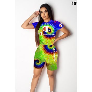 Champion Summer Newest Woman Casual Tie-Dye Print Short Sleeve Top Shorts Two Piece Set Sportswear 1#