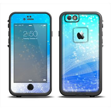 The Abstract Light Blue Scattered Snowflakes Skin Set for the Apple iPhone 6 LifeProof Fre Case