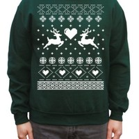 Happy Family Reindeer in Love Christmas Sweater Pullover Sweatshirt