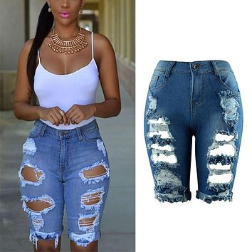 Fashion Solid Slim Jean High Waist Shorts Women Denim Shorts Streetwear Ripped Jeans Short Hole Worn Casual Vintage Women Shorts