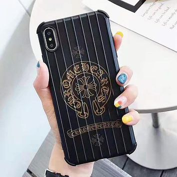 Chrome Hearts & Versace New fashion letter human head pattern print protective cover phone case