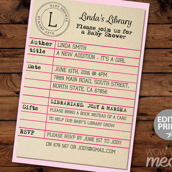 Baby Shower Library Card Invitation Book It's a Girl Invite Librarian INSTANT DOWNLOAD Pink its Twins Party Personalize Editable Printable
