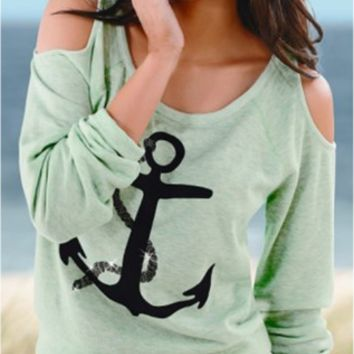 Anchor Print Cold Shoulder Sleeve Shirt