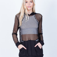 Netted Contrast Hoodie