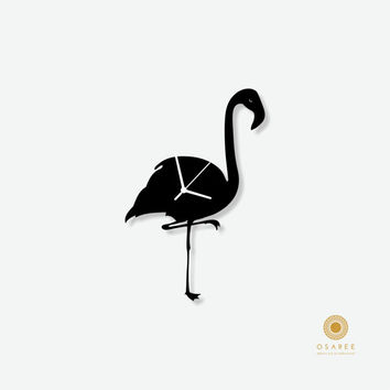 Flamingo silhouette nursery wall clock for kids room decor, gift for children