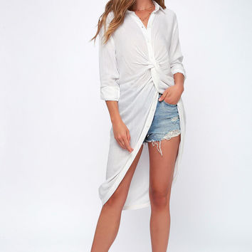 Elmwood White Button-Up High-Low Tunic Top