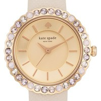 Women's kate spade new york 'cornelia' crystal bezel leather strap watch, 27mm