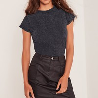 Missguided - Washed T Shirt Blue