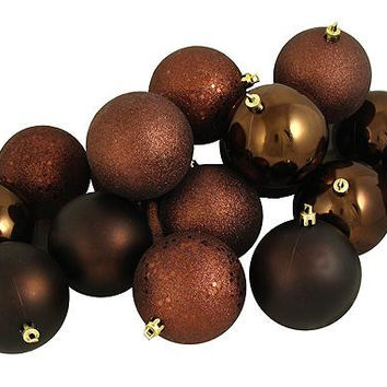 "12 Christmas Ball Ornaments - 4 ""  - Chocolate Brown"