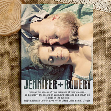 Romantic photo wedding invitations sets with free rsvp cards and envelopes - modern invitation cards EWI316