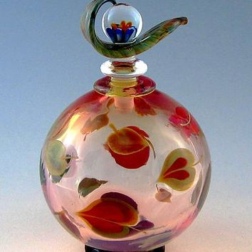 Dogwood Perfume Bottle by Chris Pantos: Art Glass Perfume Bottle | Artful Home