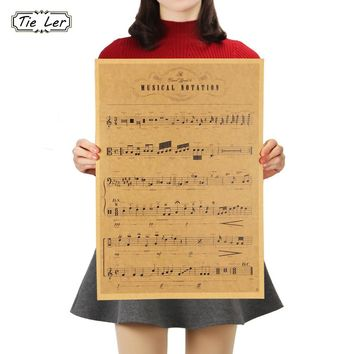 TIE LER Sheet Music Daquan Bars Cafe Drawing Poster Adornment Vintage Poster Retro Wall Sticker 51.5x36cm
