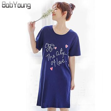 BabYoung Summer Women Nightgowns Modal Cotton Short Sleeve Sleepshirts Mini O-neck Lingerie Homewear Dress Plus Size XXL