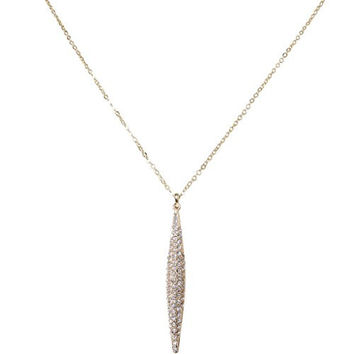 Humble Chic Women's Brancusi Delicate Necklace - Gold Diamond - Pave CZ Solid Spear Pendant
