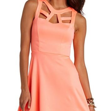 Caged Scuba Skater Dress: Charlotte Russe