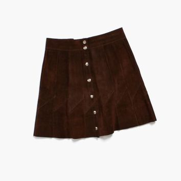 Vintage 60s Suede MINI SKIRT / 1960s High Waist Dark Brown Leather Hippie Skirt