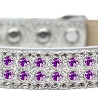 Two Row Purple Crystal Size 20 Silver Ice Cream Dog Collar