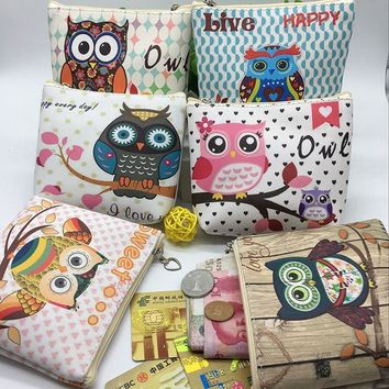 New Unisex Men Women PU Leather Zipper Coin Purse For Kids Cute Owl Small Coin Wallet Pouch Girls' Kawaii Animal Card Key Bag