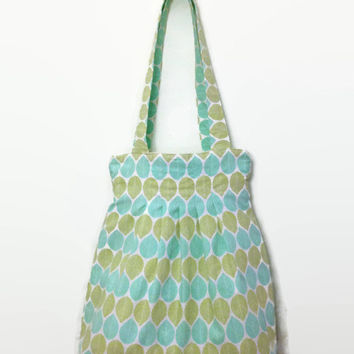 Pleated Boho Bag made with Upcycled Cotton - Green and Teal Leaves - Handbag Knitting Tote Purse