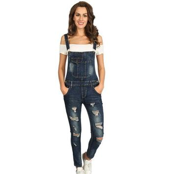 DCCKLW8 2017 Summer Hole Jeans Denim Jumpsuit Overalls rompers women one piece jumpsuits sexy bodysuit salopette femme long pencil P0952