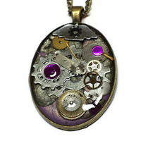 Purple and Black Steampunk Necklace with Gears and Cogs