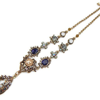 Rhinestone and Pearl Dangle Necklace Renaissance Revival