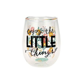 Top Shelf Double Wall StemlessquotEnjoy the Little Thingsquot Inspirational Wine Glass Multicolor Red or White Wine Unique amp Fun Gift Ideas for Men Women Friends and Family