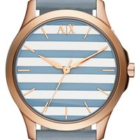 Women's AX Armani Exchange Stripe Dial Leather Strap Watch, 36mm