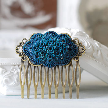 Blue Daffodil Rose Flower Hair Comb, Floral Bouquet Hair Comb, Vintage Blue Wedding Bridal Hair Comb, Shabby Chic, Goth, Gothic