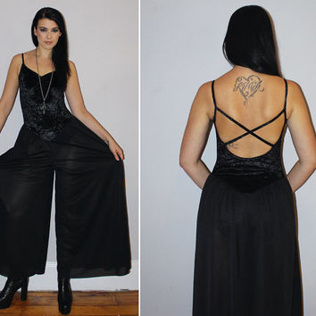Vintage 80s Crushed Velvet Jumpsuit / Palazzo Pant / Dancewear, Bodysuit / Sheer Pants, Wide Leg / Witchy / Small Med