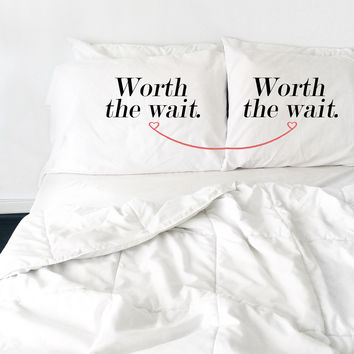 "Worth The Wait - Couple's Pillowcase Set - 2 20x30"" Pillowcases"