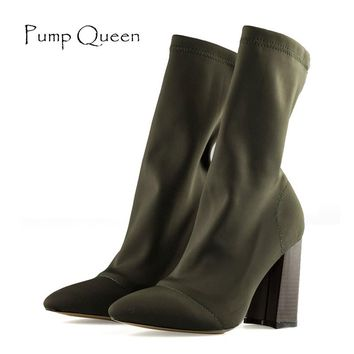 Socks Boots High Heel chic Women Boots 2018 Spring Female Shoes Woman Fashion Army Green Black Size 40