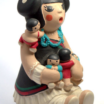 Navajo Southwestern signed Teissedre 95 STORYTELLER Art Clay Pottery Sculpture