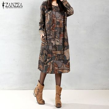 ZANZEA Women Vintage Mid-calf Length Dress Autumn Casual Loose Long Sleeve O Neck Print Dress Vestidos Plus Size Oversized