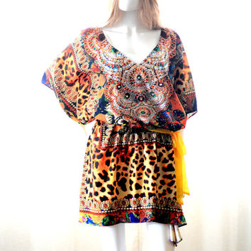 Kaftan dress short embellished caftan dress relaxed fit for beach or casual wear festival dress boho
