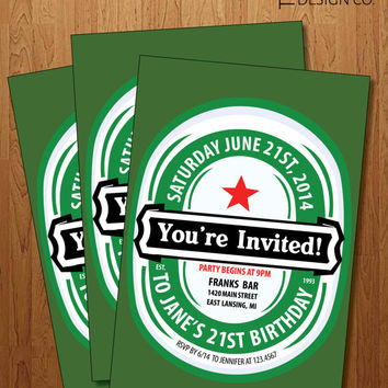 Printable Invitation - 21st Birthday  -  bachelor party - Heineken - Guy Birthday