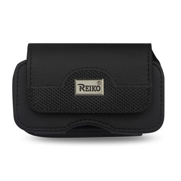 Reiko Horizontal Leather Pouch XXL Size Plus-Black With Belt Hoops And Metal LOGO