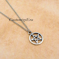 Supernatural inspiron--Pentagram necklace,pentacle pendant,antique silver Charm necklace,alloy chain