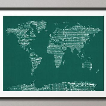 Map of the World Map from Old Sheet Music, Teal, on Etsy