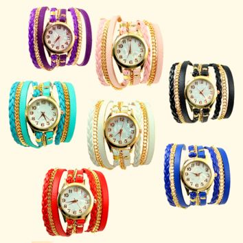Colorful Vintage Women Weave Wrap Rivet Leather Bracelet Watch